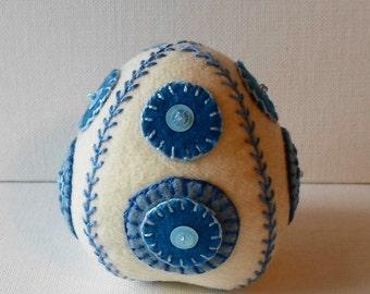 Handmade Felted Wool Blue Dots Easter Egg Pincushion