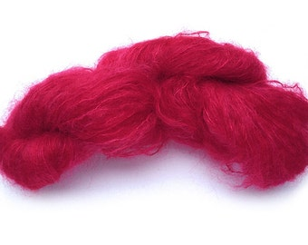 Hand-painted OOAK luxury mohair-blend yarn in Valentine (shades of reds & deep pinks)