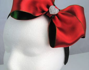 Large Jumbo Christmas Rhinestone Jeweled Hair Bow Glitter Headband Clip