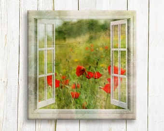 Window view  of red poppy fields printed on canvas - Home decor - Floral art - Housewarming gift