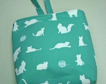 Waterproof, Wipeable and Washable Cat Silhouettes on Teal Car Trash Bag