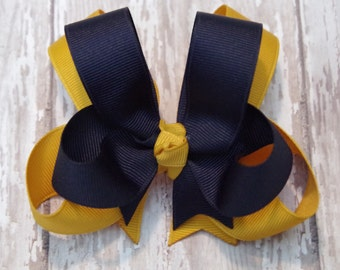 """Girls Hair Bow Navy & Gold Double Layered 4"""" Boutique Hairbow School Uniform"""
