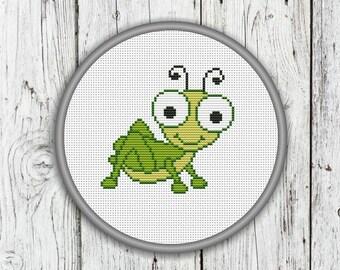 Little Grasshopper Counted Cross Stitch Pattern, Needlepoint Pattern - PDF, Instant Download