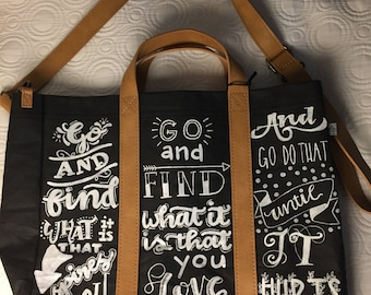 Hand lettered hearth & hand with magnolia tote bag joanna gaines quote