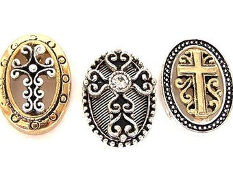 3 cross two hole slider beads, antiqued silver and gold cross oval 2 hole beads