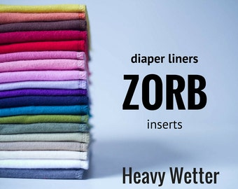 Heavy Wetter Zorb Diaper Liners Soakers Doublers Cloth Diaper Inserts  - Choose Your Colors -Size and Quantity