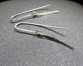 Sample Sale. modern sterling silver dangle earrings. hammered silver jewelry. made in Calgary.