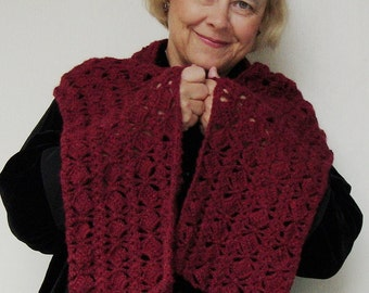 Mother-In-Law Gift, Crochet Scarf, Crocheted Scarves, Alpaca Scarf, Burgundy Scarf, Women's Scarves, Pomegranate Scarf, Gift for Her