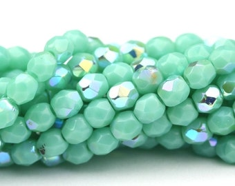 Czech Glass Beads Fire Polished Faceted Rounds 3mm Turquoise AB (50) CZF453