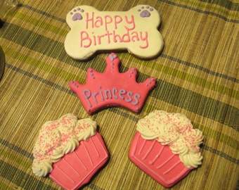 Personalized  Birthday Dog Treats cupcake dog treats with a crown Extra large