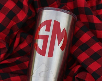 1 Monogram Decal, Two Letter Monogram Decal, Cup Decal, Tumbler Decals, Decals for Men, Monogram Stickers, Monogram Car Decal