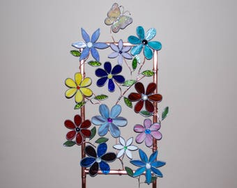 Large Stained glass Plant Stake Garden Decor Flowers Butterfly Leaves Suncatcher