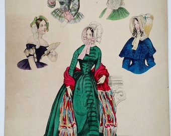 """Early Victorian Fashion Plate, """"Die Mode"""", 1844, Engraving, Hand Colored, Women, Millinery, Clothing, Period, Antique, Ephemera, 1800s"""
