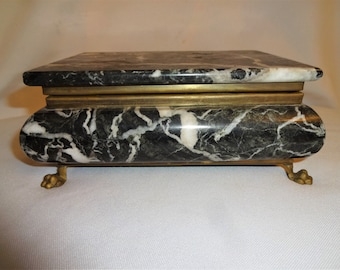 Marble Jewelry Box with Brass Vintage