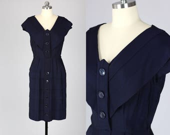 1940s Dress / 40s Nautical Navy Silky Rayon Crepe Geometric Design Fitted Day Dress