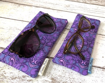 Purple Owl Glasses Pouch, Quirky Sunglasses Case, Cushioned Spectacles Bag, Masquerade Owls Accessory, Bookish Gift for Her