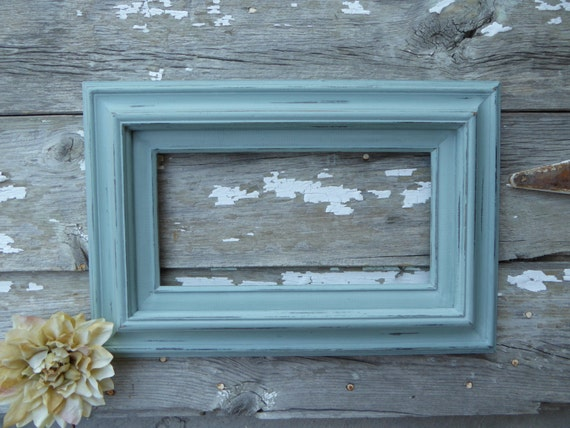 Hand Painted Open Wood 17 x 11 Frame ~ Distressed Weathered Duck Egg ...