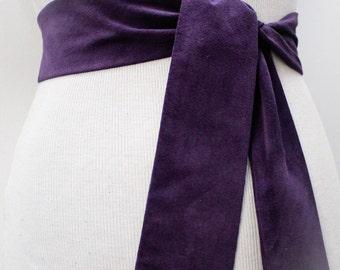 Purple Suede Obi Tie Belt | Suede Narrow Belt | Leather wrap belt | Narrow Suede Leather Belt