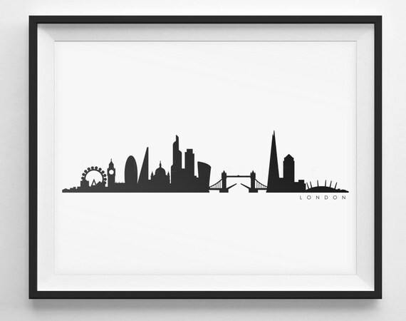 London Skyline Silhouette Printable UK