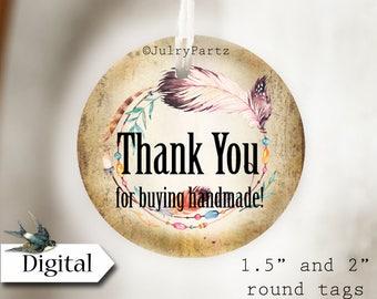 DIY BEADED WREATH #2•Thank You Tags•Printable Tags•Digital Tags•Favor Tags