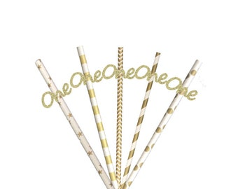 Number One Party Straws - Glittery Gold and Gold Straws - 1st Birthday Party Straws