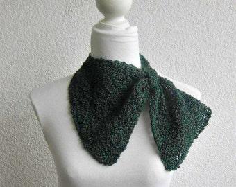 Triangle Shawl, Neckwarmer Brunswick green,  Dark Green, Knitted Scarf, Cowl, Warm, Trendy, stylish, infinity, Romantic, Feminine