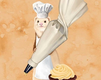 Ferret and Frosting art print // pigment print, archival, 8x10 // Ferret holding a pastry bag with a cupcake
