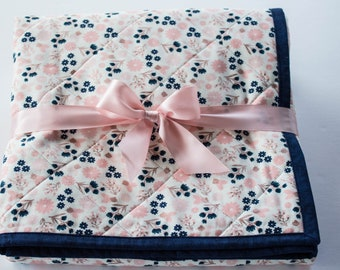 Handmade Baby Quilt, Baby Girl Quilt, Whole Cloth Baby Quilt, Navy and Blush Pink Floral Baby Quilt, Navy and Pink Baby Shower Gift