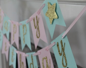 Twinkle twinkle little star happy birthday banner | Twinkle star baby shower | Twinkle star party decor | Pink mint gold star banner