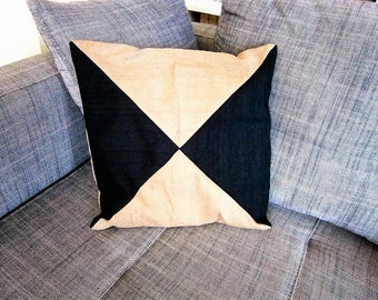 black and beige caramel the India two-tone Silk Pillow cover