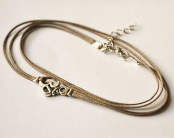 Om anklet, om bracelet, anklet bracelet, adjustable anklet, brown anklet, beach anklet, om charm anklet, foot bracelet, foot jewelry