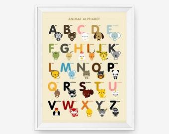 Animal Alphabet Poster A-Z, Children Decor, Classroom Decor, Nursery Art