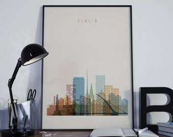 Dublin Art Dublin Watercolor Dublin Multicolor Dublin Wall Art Dublin Wall Decor Dublin Home Decor Dublin Skyline Dublin Print Dublin Poster