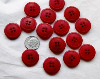 15 Button Red Matching, Sewing, 4 Hole, Sew through, Crafting  (Ai 33)