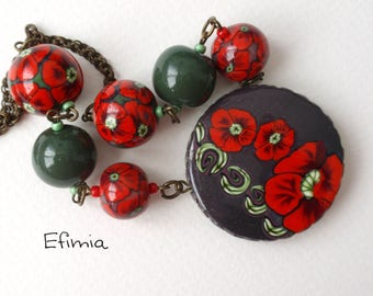 The poppy necklace pendant and round beads with various polymer clay, red brown gem decor