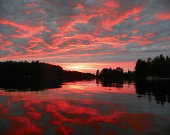 Boundary Waters Sunset Photograph, Landscape  Photography, Scenic Sunset from the Water