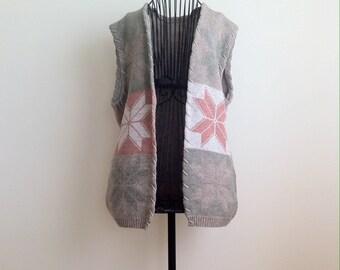 Vintage  Vest.Oversize Vest.Vintage Knit.
