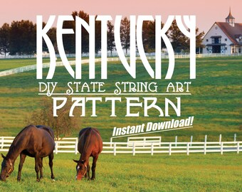 "Kentucky - DIY State String Art Pattern  - 12"" x 5"" - Hearts & Stars included!"