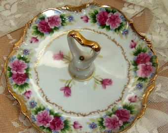 Vintage Dainty plate w\/handle - Beautiful roses gilding - Candy Dish - Trinkets