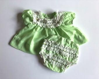 Vintage Baby Girls 70's Dress Bloomer Set, Green, White, Lace, Short Sleeve (0-3 mos)