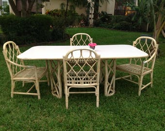 "FICKS REED CHIPPENDALE Style Dining Table 73"" long x 41"" Chippendale style Dining Table Base / Ficks Reed style Faux Bamboo Retro Daisy Girl"
