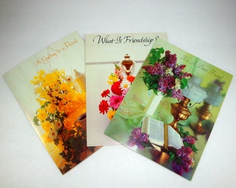 Friendship Cards, Dear Friend, Set of Three, Floral Greeting Cards, Flowers, Religious, Bible Verse, Unused  (183-13)