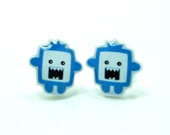 Small Blue Monster Earrings | Sterling Silver Posts Studs | Gifts For Her