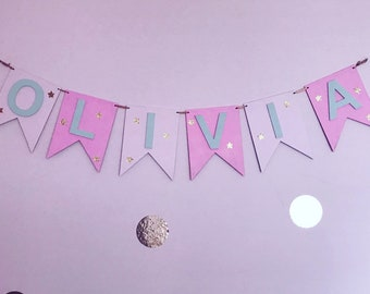Personalised Wooden Bunting - Bedroom Decor - Girls - Boys