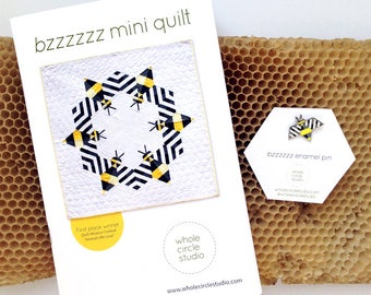 Bee Quilt Pattern + Enamel Pin, Gift Set. Great gift for quilters.
