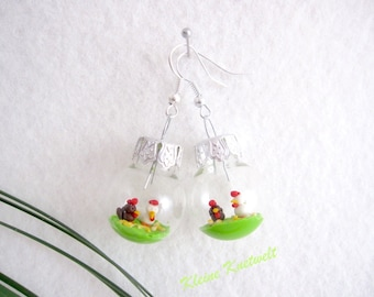 Chicken earring hen fashion jewelry easter decoration polymer clay jewelry