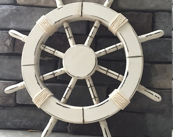 "18"" Rustic White Nautical Ship Wheel - Decorative ship's wheel, Wood ship wheel, Vintage ship wheel, nautical decor, vintage beach decor 028"