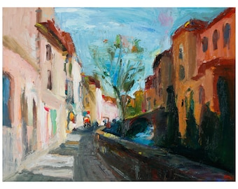 Fine Art Giclee Print  Early Spring in Granada Expressionistic Cityscape Original Oil Painting Street Street Scene Prints Home Decor Poster