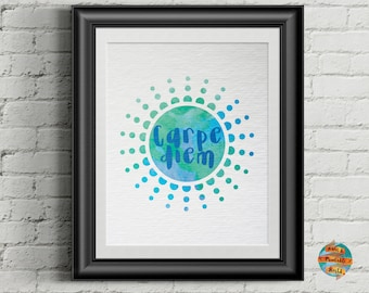 Carpe diem, watercolor style, digital artwork, Printable poster, Wall art decor