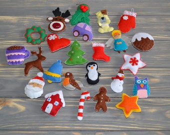 Felt Christmas Ornaments handmade set 24 Advent Calendar ornaments Xmas Ornaments Christmas Tree Decorating Сhristmas garland felt Ornaments